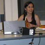 Montebon at her book launch at the National Writer Union, in New York.