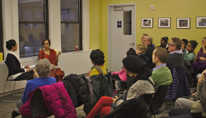 Elisabet during the Q & A with the readers who attended her book launch