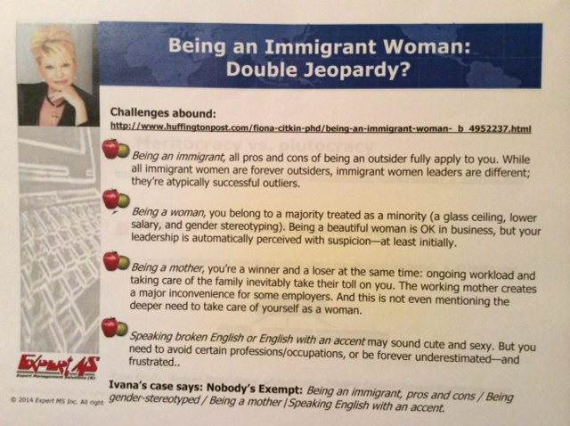 The quadruple jeopardy points faced by foreign born professional women in the US, as highlighted by Dr. Citkin.