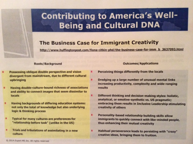 "Dr. Citkin's power-point slide on the economic value of ""immigrant creativity."""