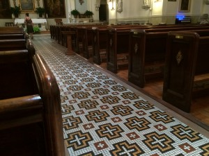 Mosaic crosses on the floor