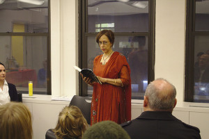 "Elisabet Cairo reads a chapter of ""Just to Be Held"" during her book launch, at the National Writers Union, New York CIty."